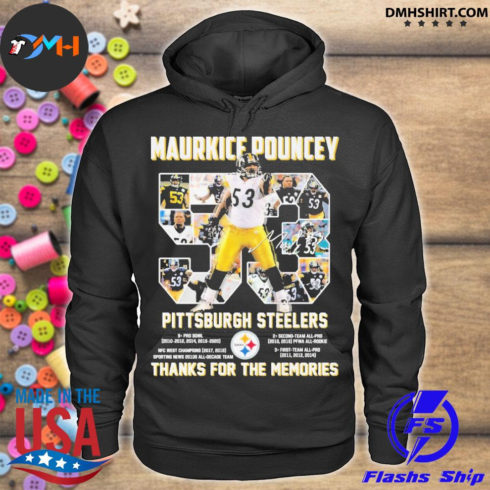 Official 53 maurkice pouncey pittsburgh steelers thanks for the memories hoodie