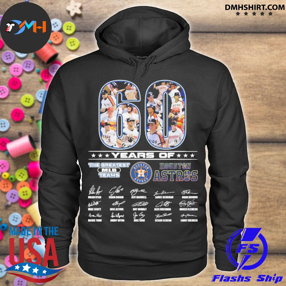 Official 60 years of the greatest mlb teams houston astros signatures thank you for the memories hoodie