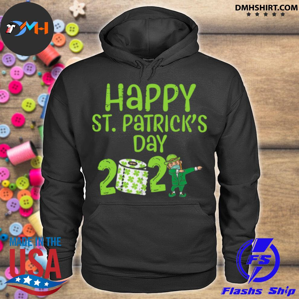 Official happy st patrick's day 2021 toilet paper with elf face mask dabbing hoodie