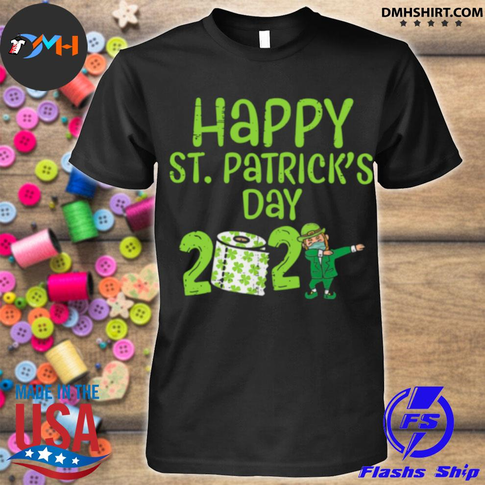 Official happy st patrick's day 2021 toilet paper with elf face mask dabbing shirt