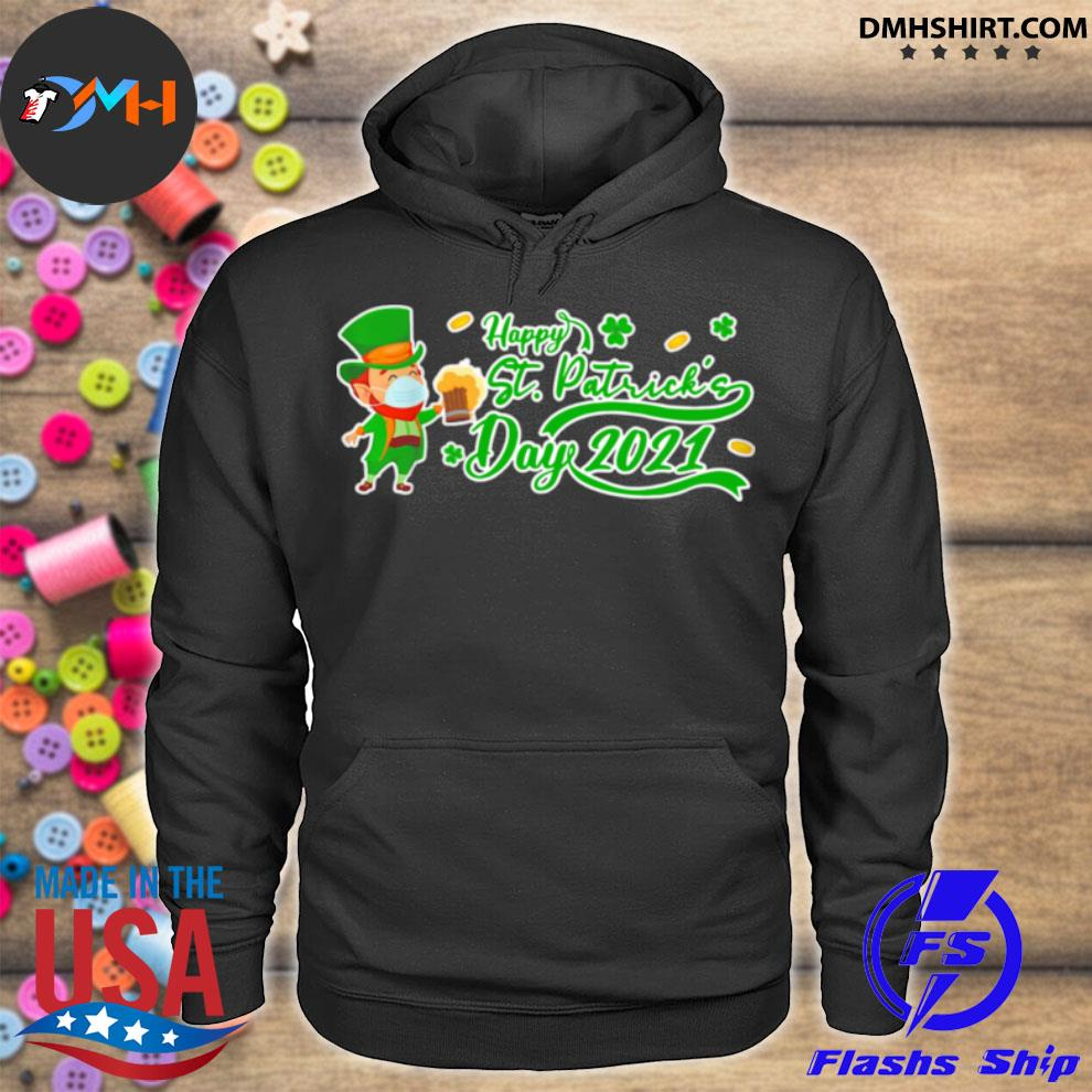 Official irish man face mask drink beer happy st patrick's day 2021 hoodie