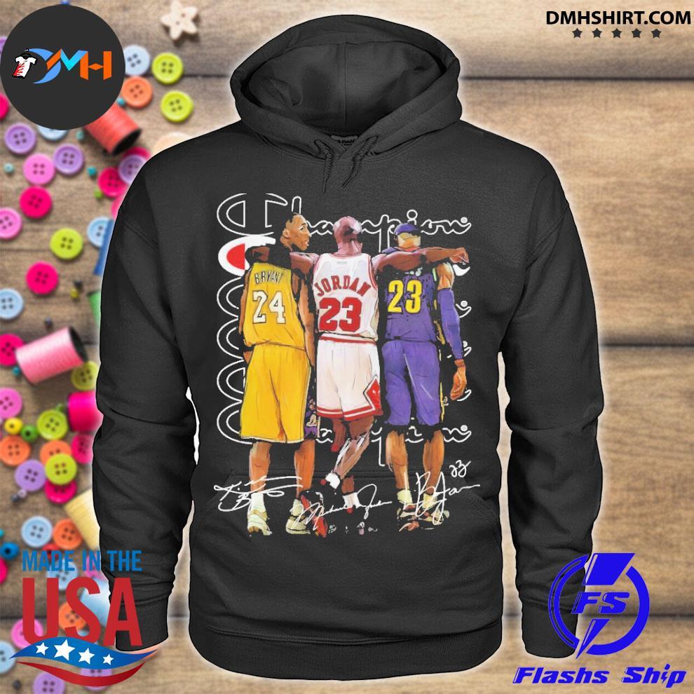Official kobe bryant 24 michael jordan 23 lebron james 23 champion signature hoodie