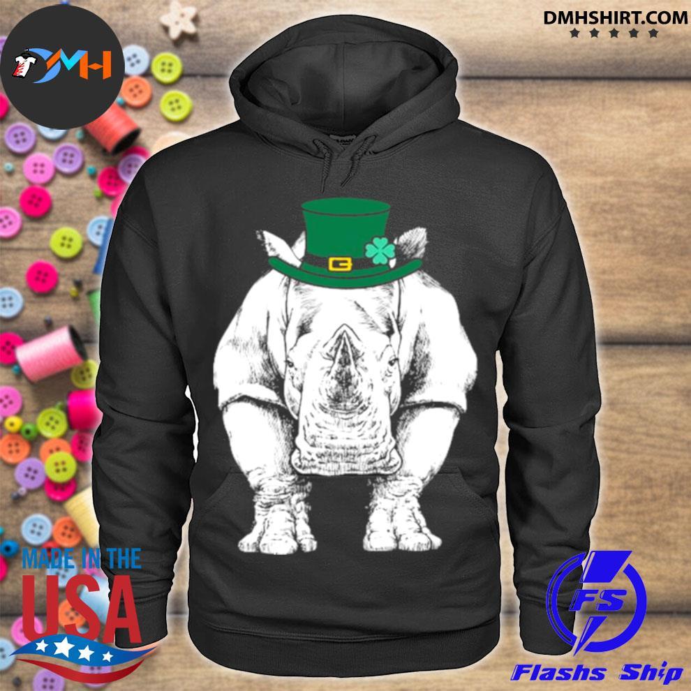 Official rhino st. Patrick's Day Safari Animal Lover hoodie