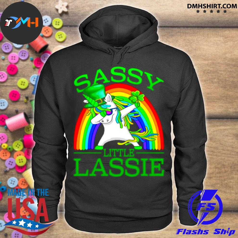 Official sassy little lassie unicorn dabbing st. Patrick's Day hoodie