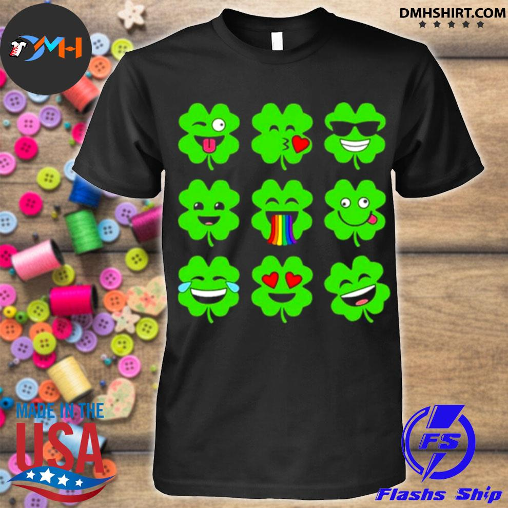 Official shamrock emoji funny st patrick's day shirt