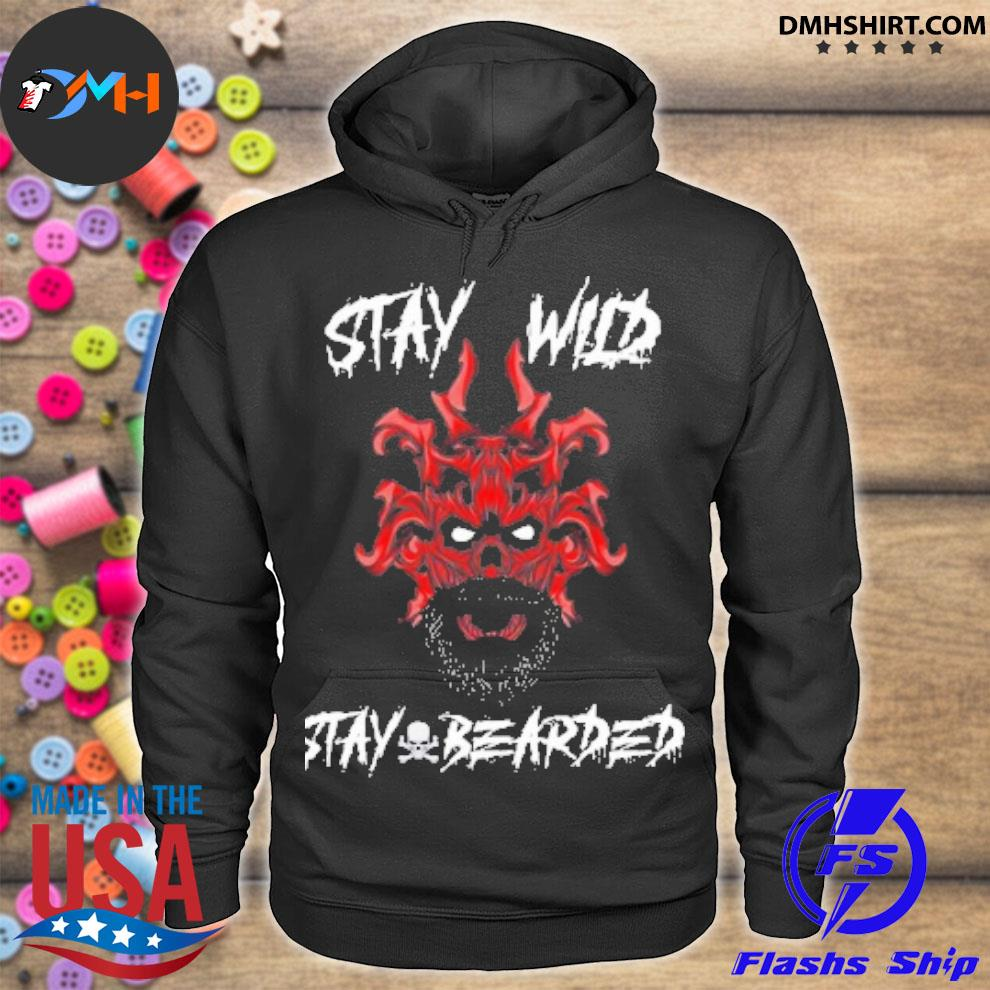 Official skull stay wild stay bearded hoodie