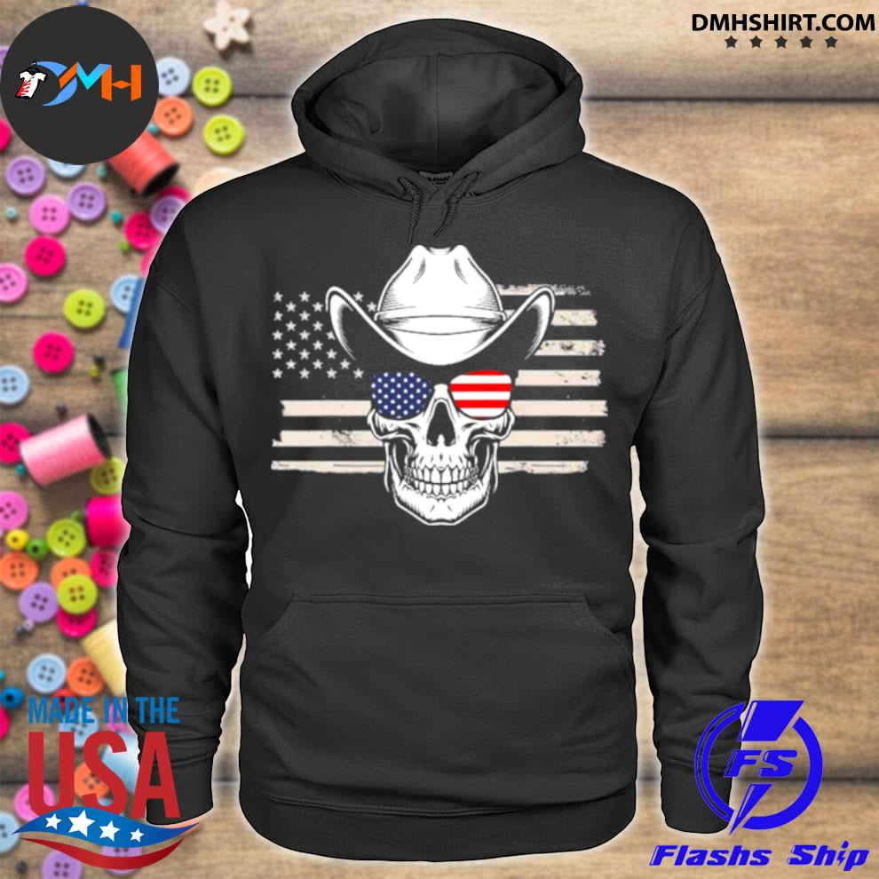 Official skull with sunglasses and cowboy hat in front of us flag hoodie