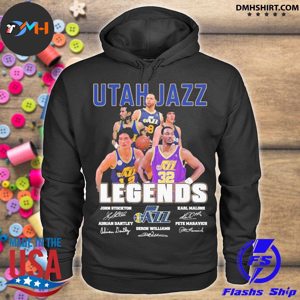 Official utah jazz legends john stockton and karl malone adrian dantley and deron williams and pete maravich hoodie
