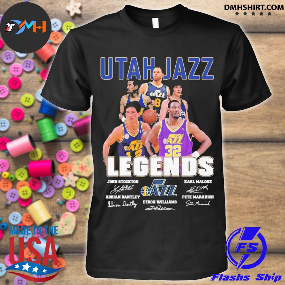 Official utah jazz legends john stockton and karl malone adrian dantley and deron williams and pete maravich shirt