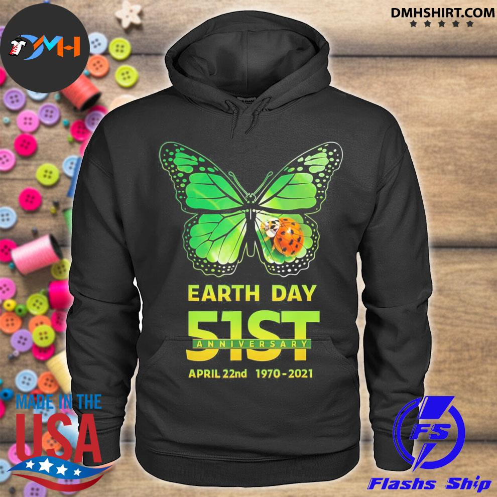Earth day 51st anniversary 2021 butterfly environmental hoodie