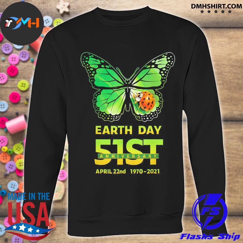 Earth day 51st anniversary 2021 butterfly environmental sweatshirt