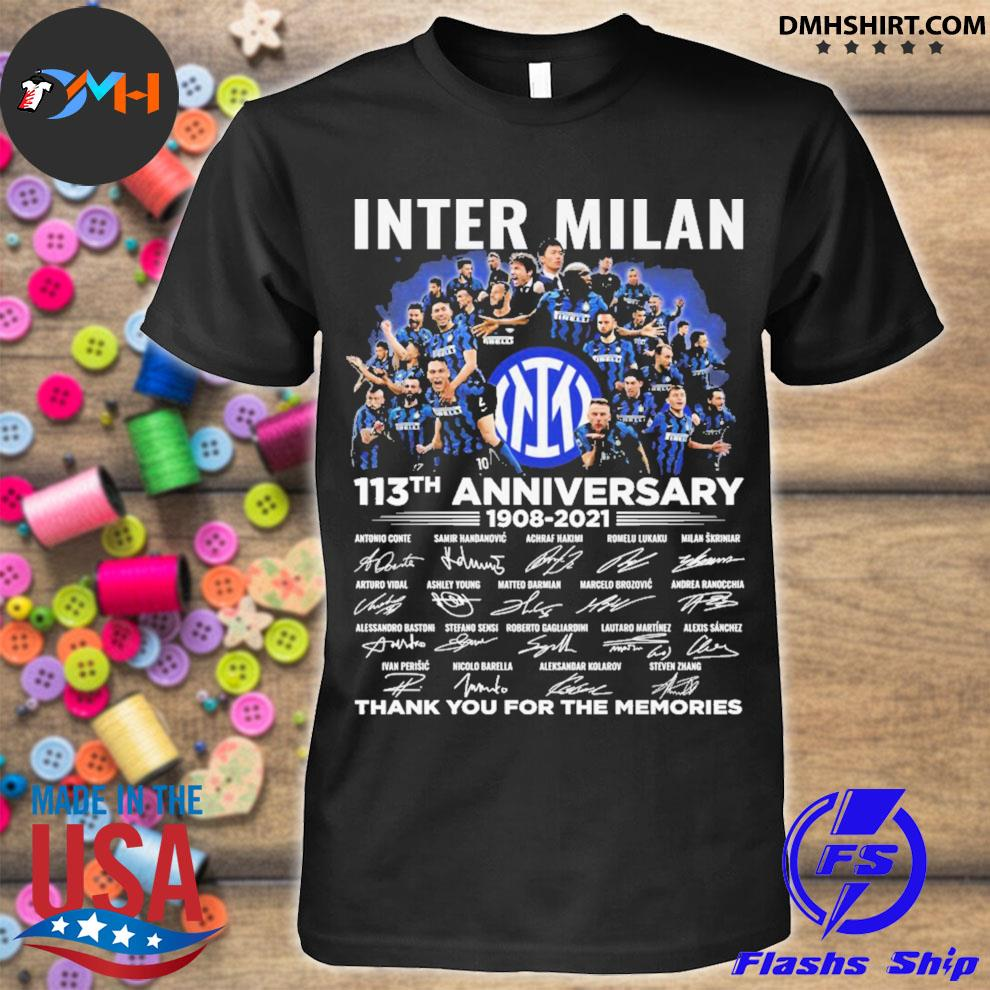Inter Milan 113th anniversary 1908 2021 signatures thank you for the memories shirt