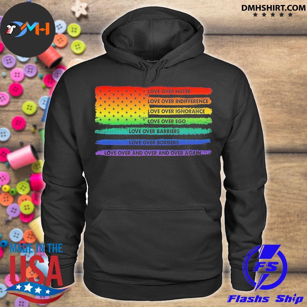 LGBT American love over hate hoodie