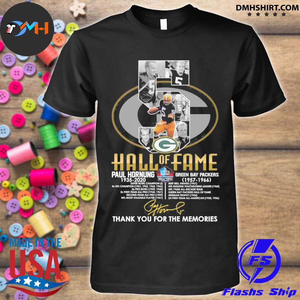 5 Hall Of Fame Paul Hornung anniversary signature thank you for the memories shirt