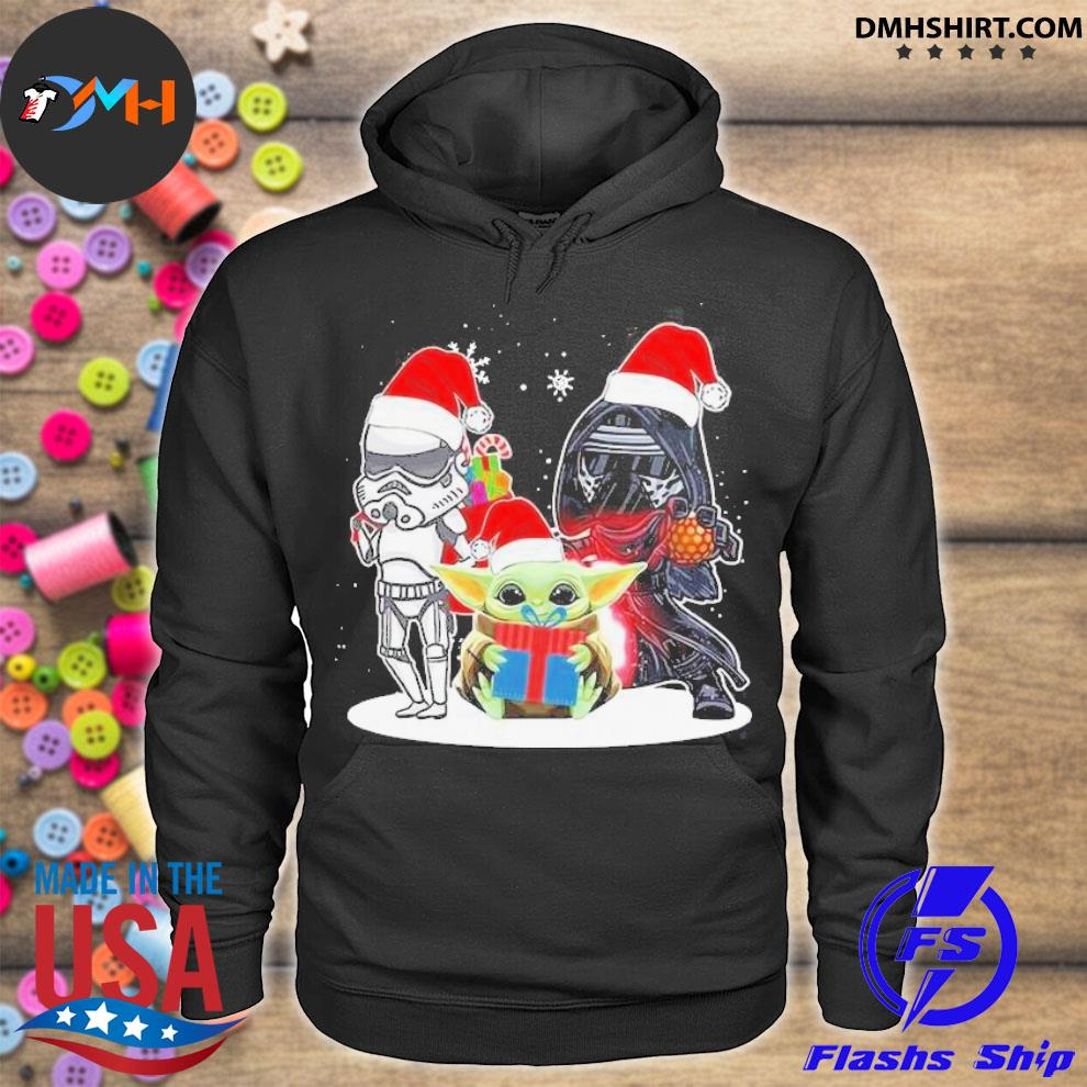 Baby yoda and darth vader stormtrooper merry Christmas sweater hoodie
