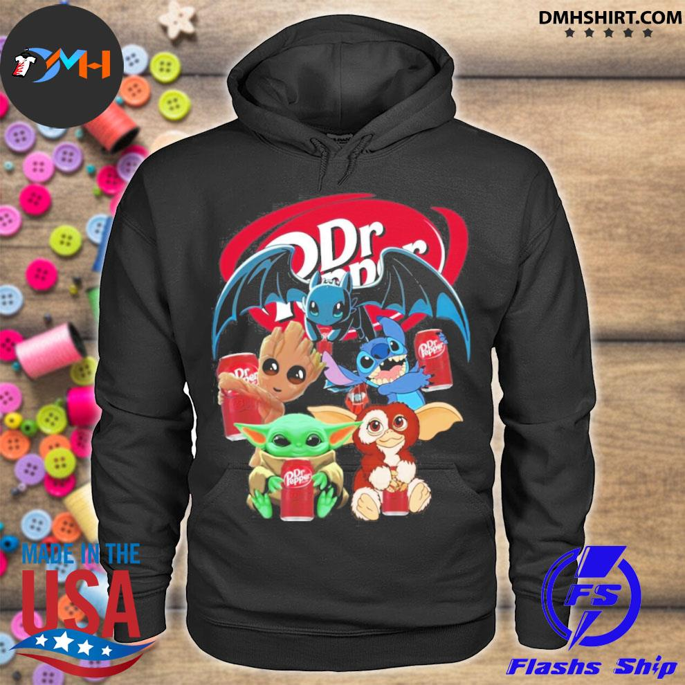 Baby yoda baby groot and toothless stitch gizmo hug dr pepper s hoodie