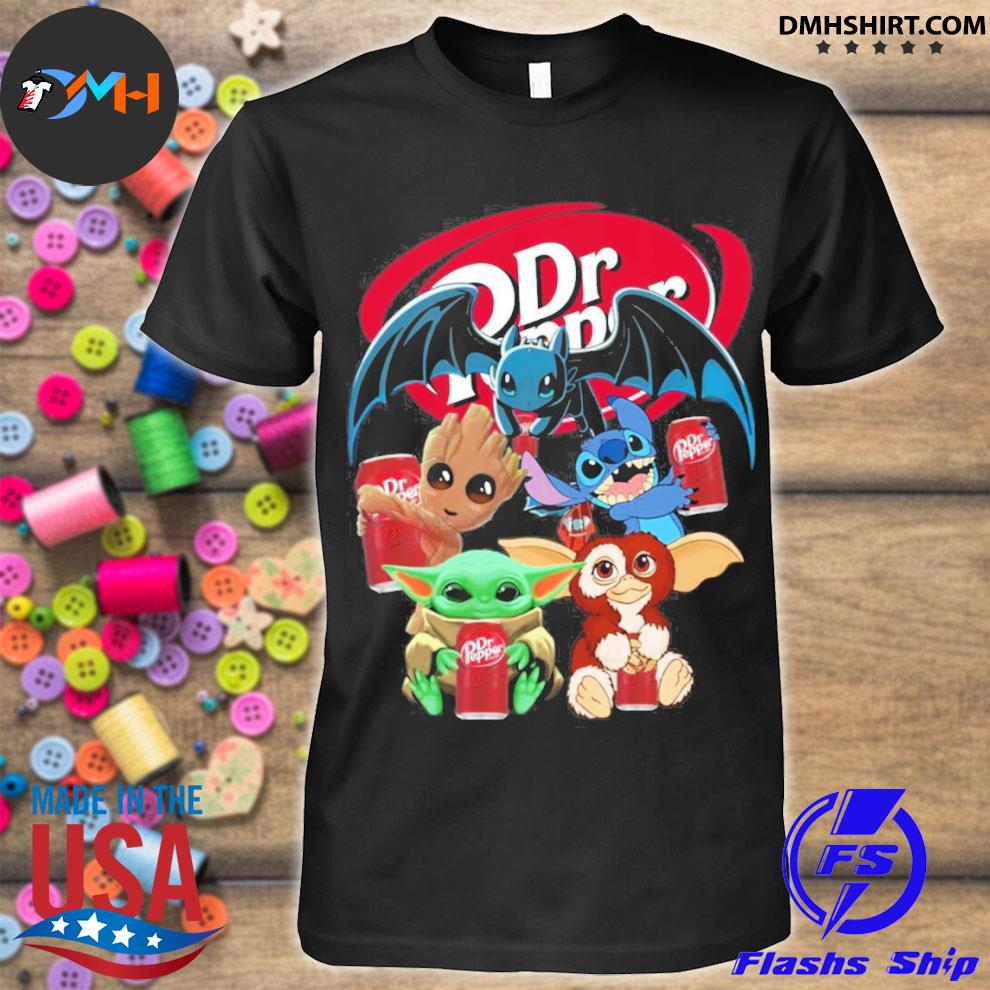 Baby yoda baby groot and toothless stitch gizmo hug dr pepper shirt