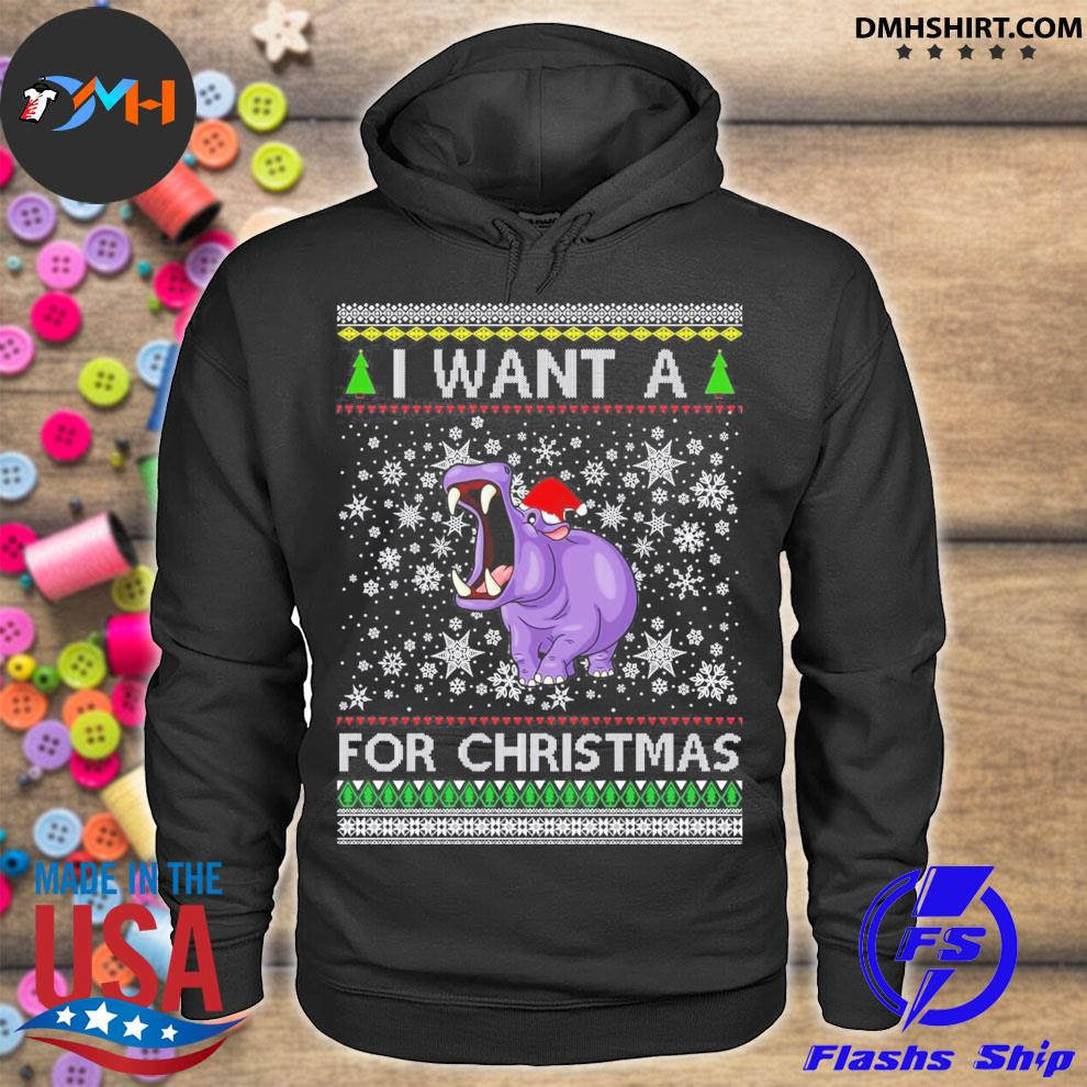 I want a hippopotamus for Christmas ugly sweater hoodie