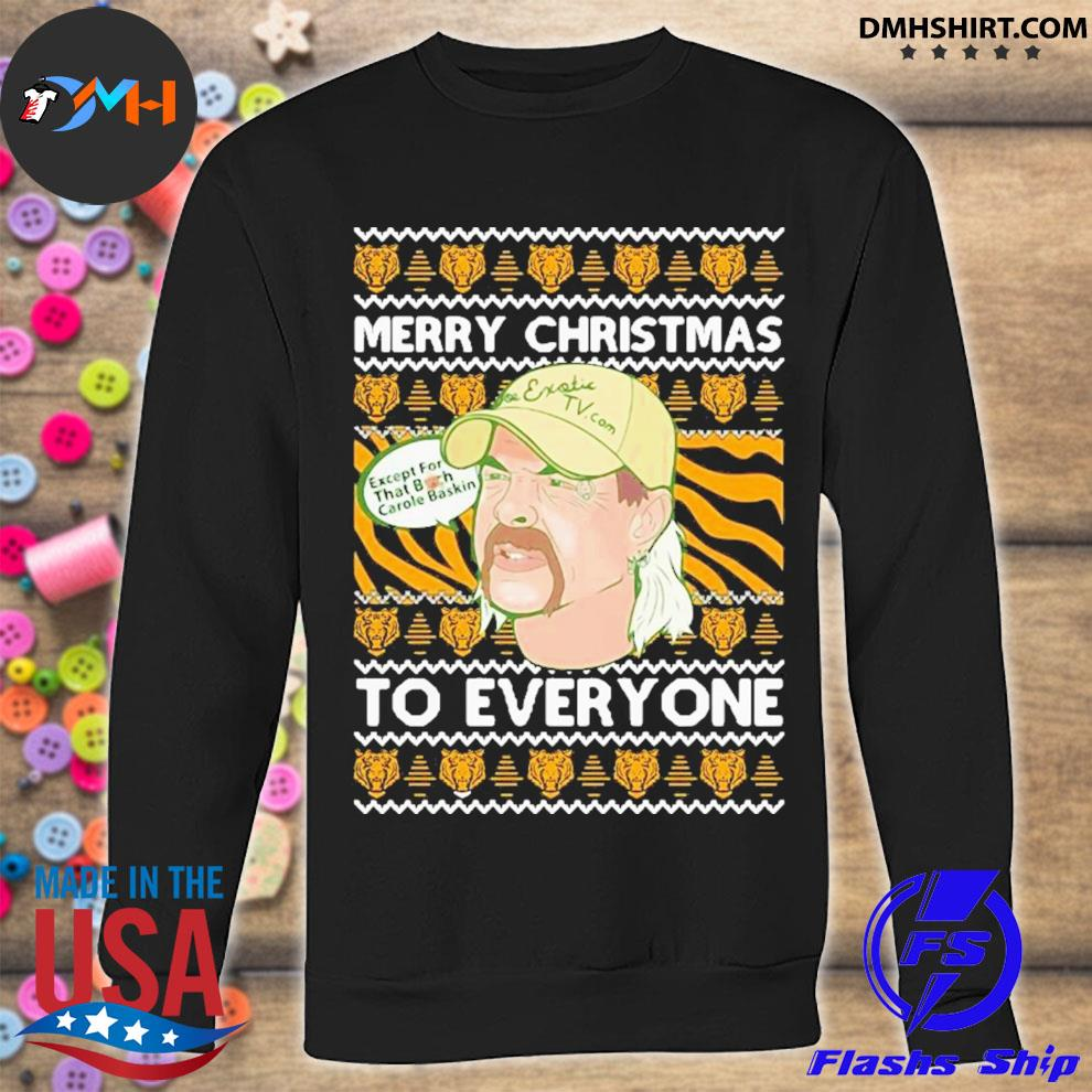Tiger king merry christmas joe exotic big cat rescue carole baskin sh300 ugly christmas festive s sweatshirt