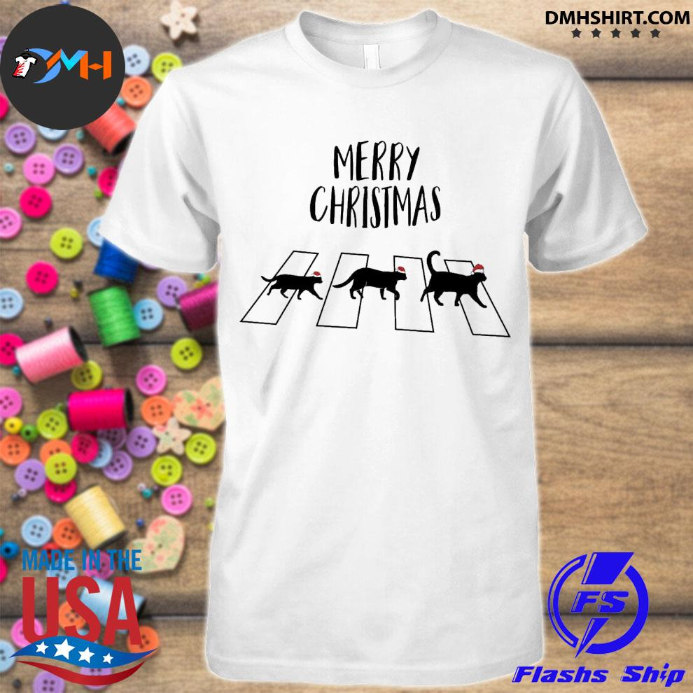 Official cat hat santa abbey road merry christmas shirt