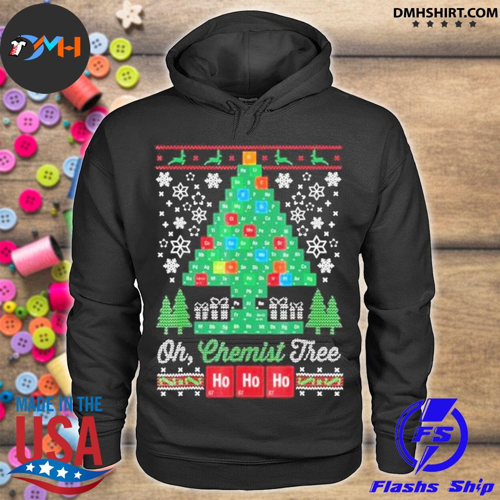 Official chemical molecular table tree pine ugly merry christmas sweater hoodie