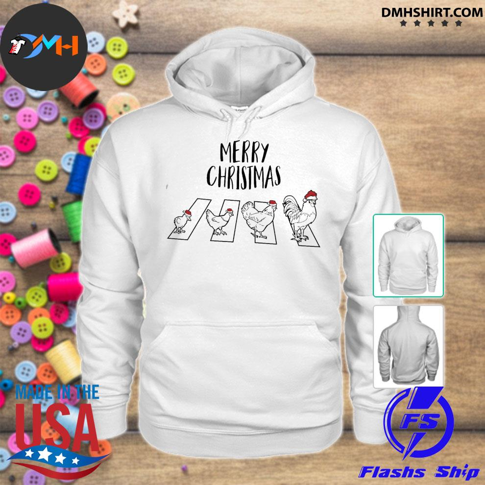 Official chicken hat santa abbey road merry christmas s hoodie