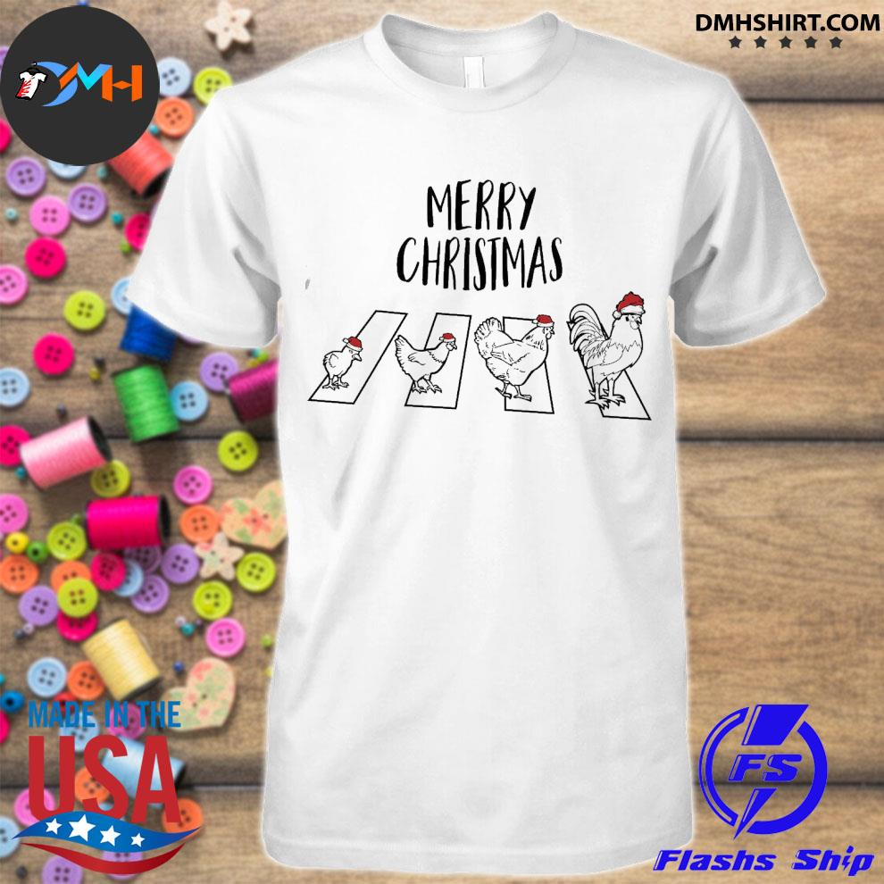 Official chicken hat santa abbey road merry christmas shirt