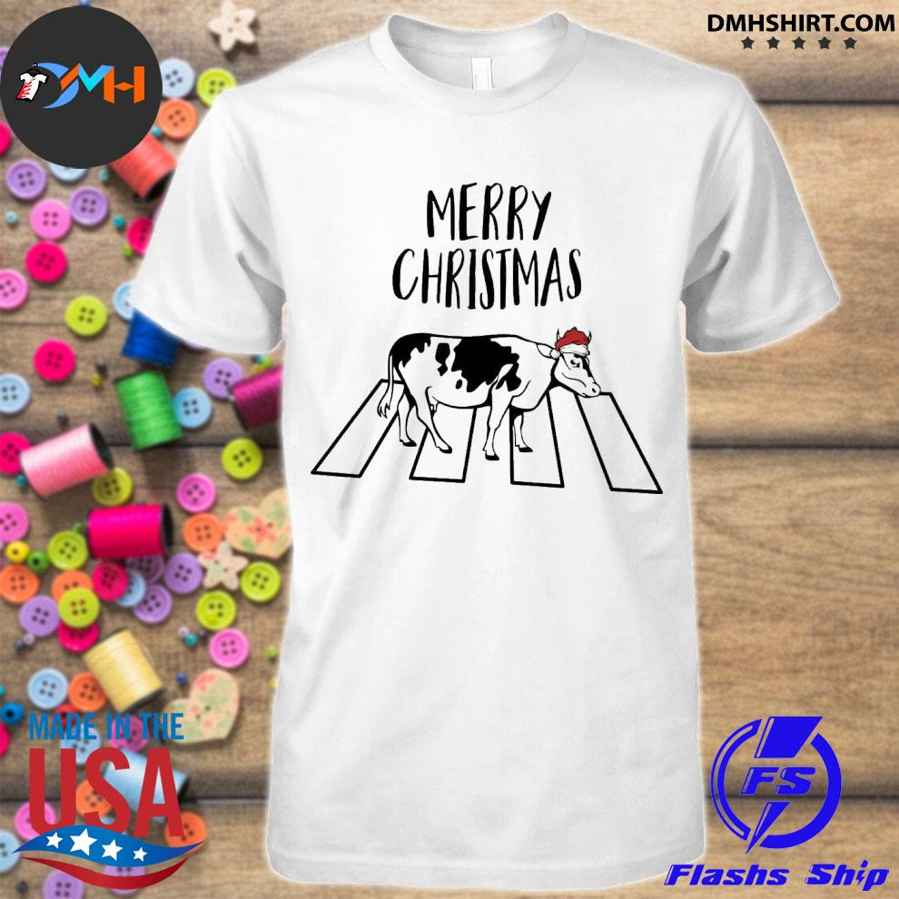 Official cow hat santa abbey road merry christmas shirt