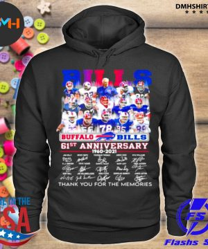 Official bills buffalo 61st anniversary 1960 2021 thank you for the memories signature s hoodie