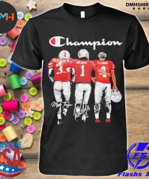 Official champion league iii okudah fleming ohio state buckeyes signatures shirt