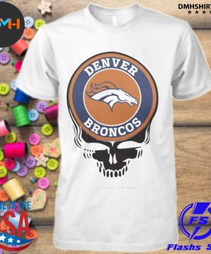 Official denver broncos football skull shirt