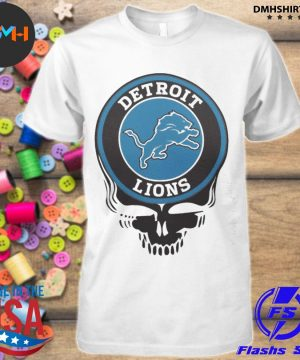 Official detroit lions nfl football skull shirt