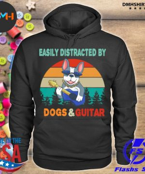 Official easily distracted by dogs and guitar vintage sunset s hoodie