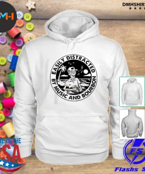 Official easily distracted by music and bourbon skeleton beach s hoodie