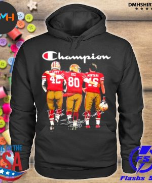 Official san francisco 49ers lott rice and montana champion signatures s hoodie